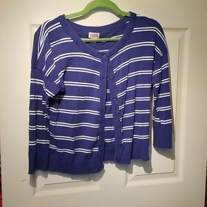 Mossimo xl cropped cardigan blue white striped